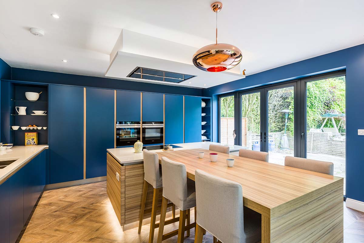 Contemporary Blue Handless Kitchen