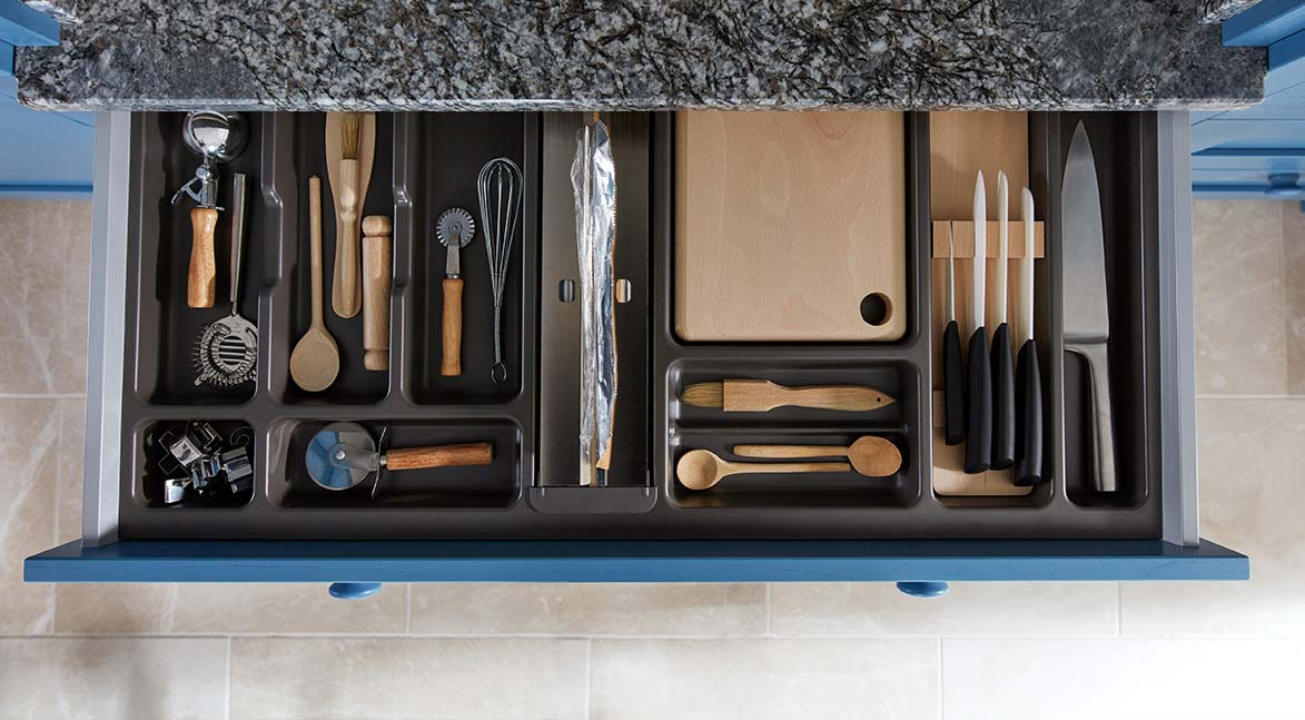 Cutlery insert 2 kitchen drawer organiser blue kitchen granite worktop
