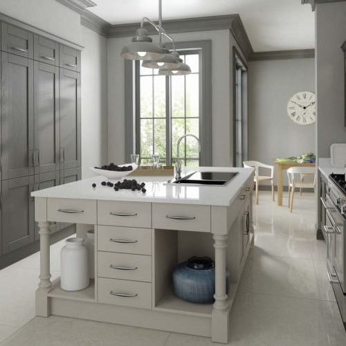 Dark & light grey modern shaker kitchen with white quartz worktop