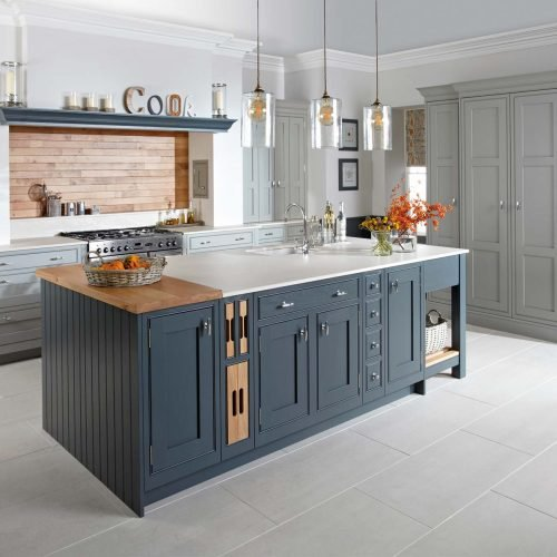 Dark & light grey shaker kitchen in frame kitchen island