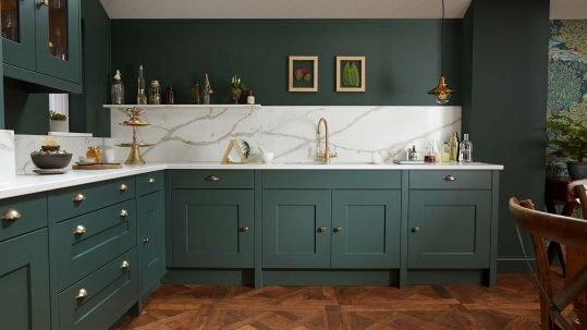 Green shaker kitchen marbled quartz worktop & splashback