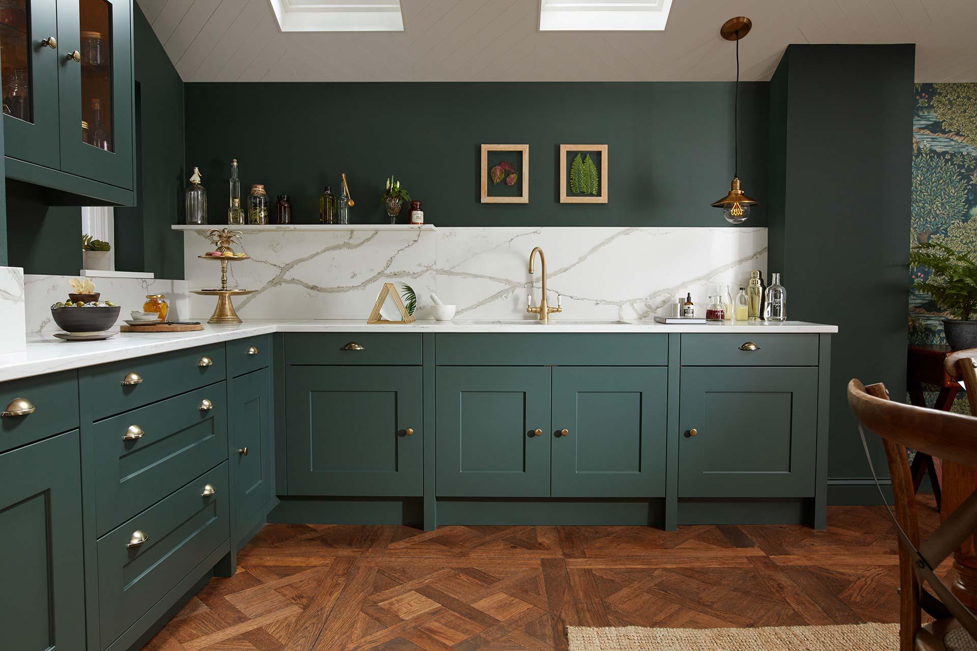 kitchen design ideas Green shaker kitchen marbled quartz worktop & splashback