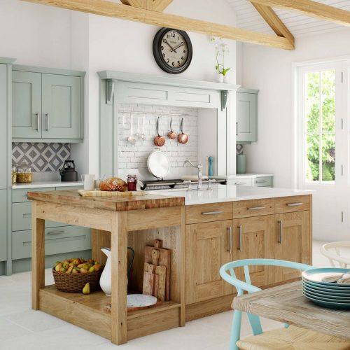 Green-&-wood-shaker-kitchen_butchers-block_kitchen-island-UF
