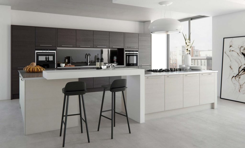 Light grey & black contemporary open plan kitchen with pendant hood