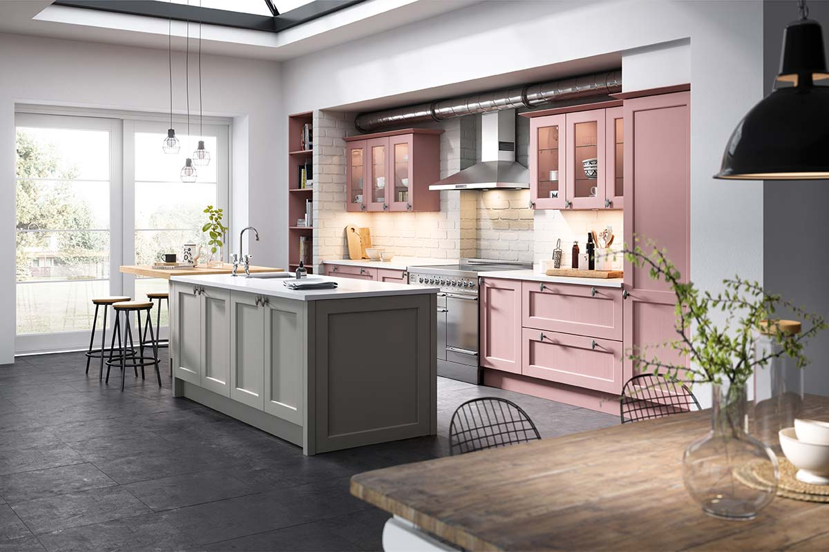 Pink and grey shaker kitchen with white worktop