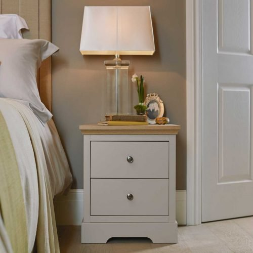 Stone 2 drawer bedside chest with oak top classic bedroom furniture
