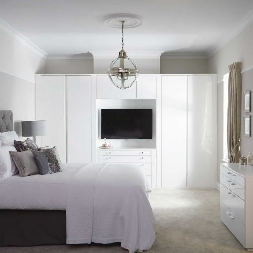 White gloss bedroom furniture fitted wardrobes