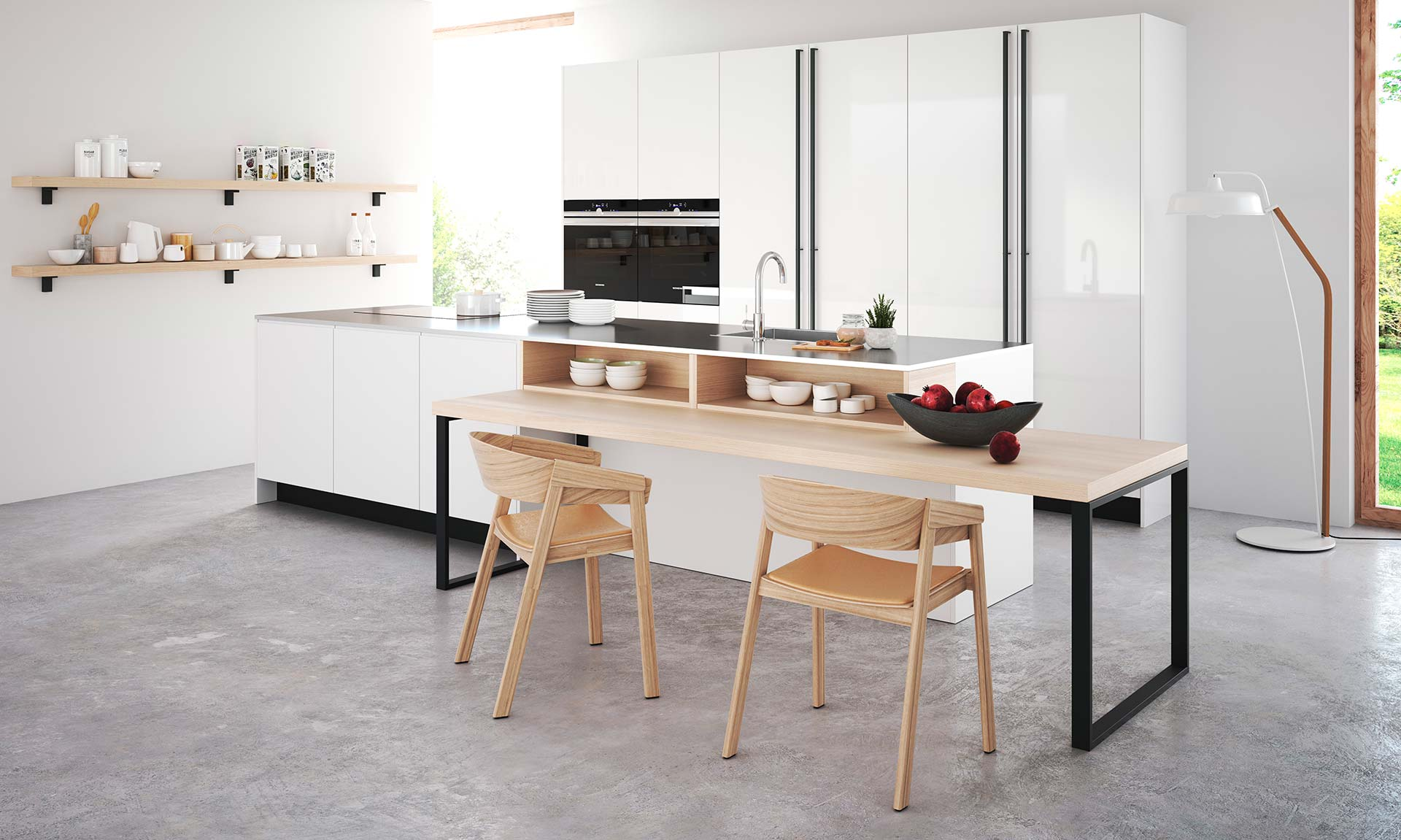 White gloss contemporary german kitchen wood breakfast bar black handles modern