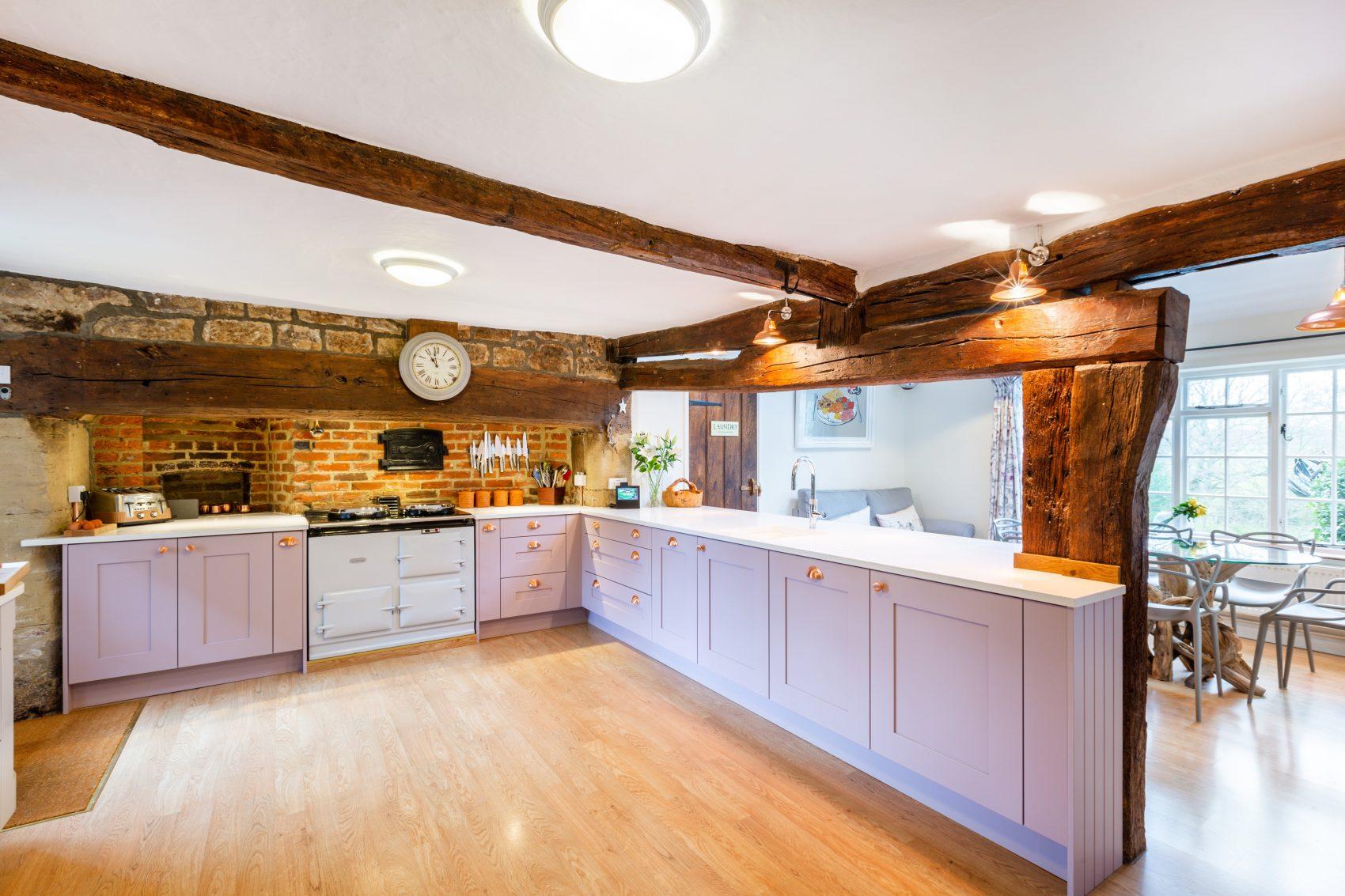 farmhouse shaker kitchen design in pink