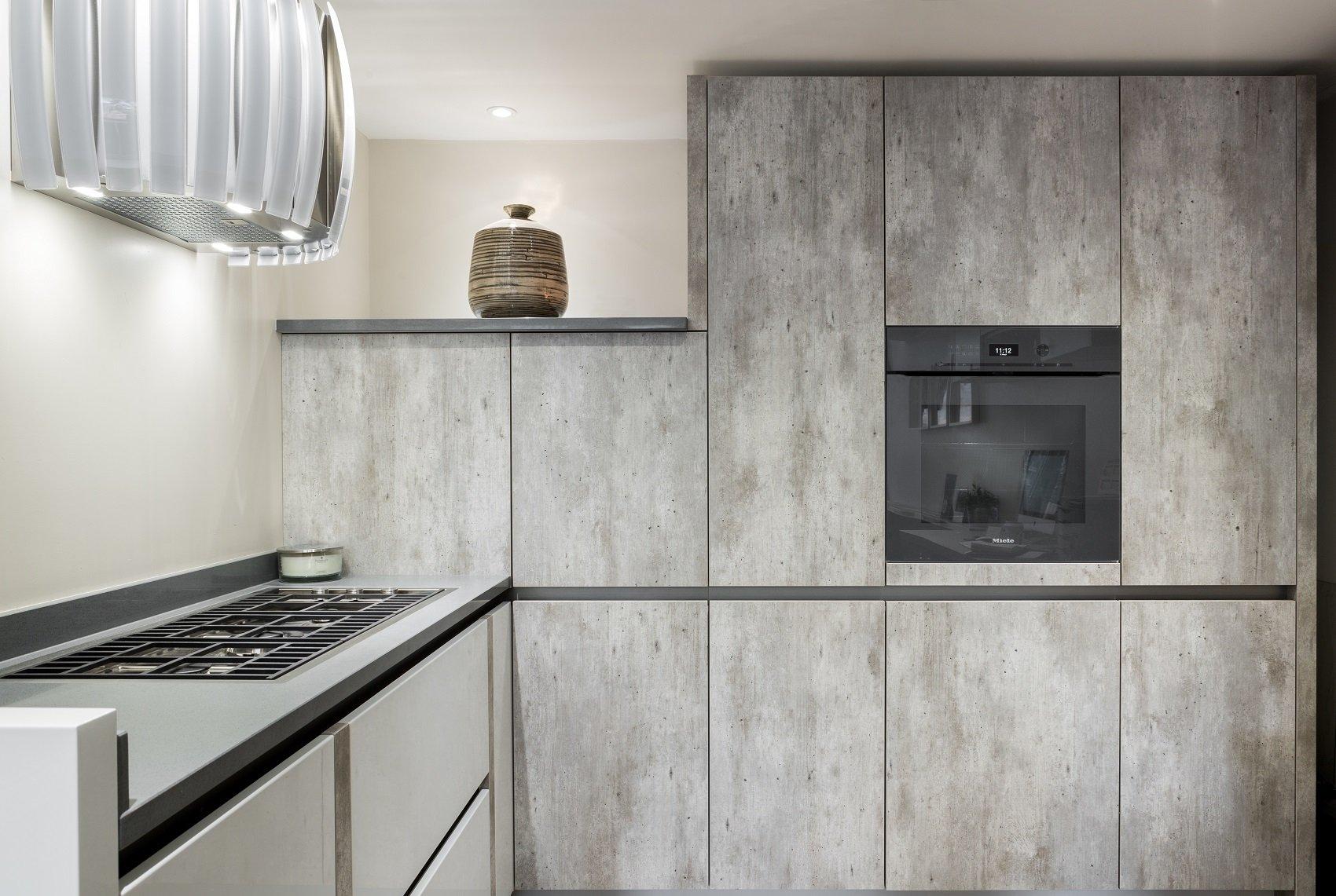 grey handleless kitchen