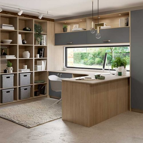 Blue Grey and Vincenza Oak Bespoke Office Design