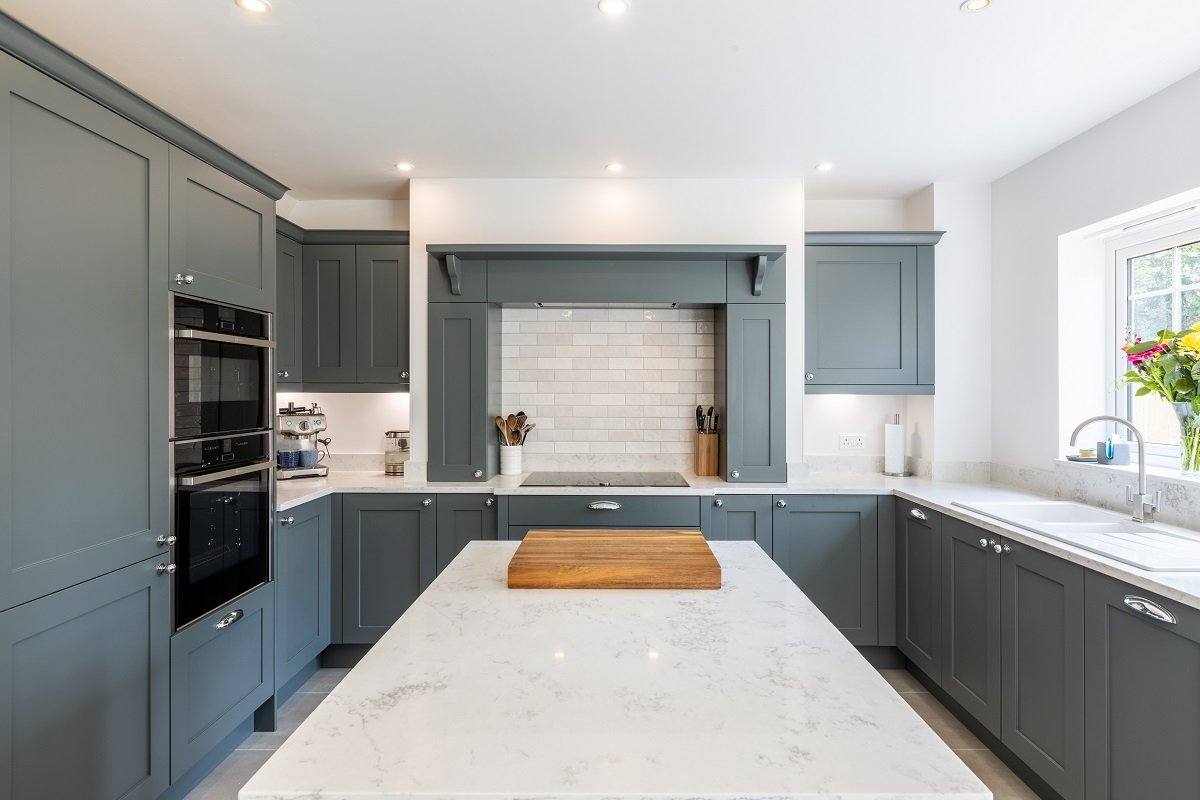 grey shaker kitchen with quartz worktops